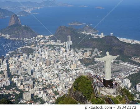里約熱內盧,基督雕像在Corcovado,鳥瞰圖 38342372