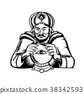 Fortune Teller Eye on Crystall Ball Woodcut 38342593