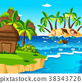 Mermaids and turtles on the island 38343726