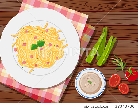 Spaghetti and soup on the table 38343730
