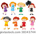 Girls in different color shirts 38343744