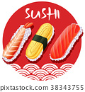 Japanese food design with sushi rolls 38343755