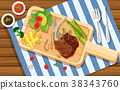 Lambchop and salad on wooden board 38343760