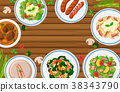 Different types of food on wooden board 38343790