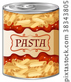 Pasta with sauce in aluminum can 38343805