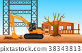 Bulldozer digging hole at the construction site 38343813