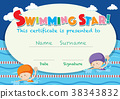 certificate, template, swimming 38343832