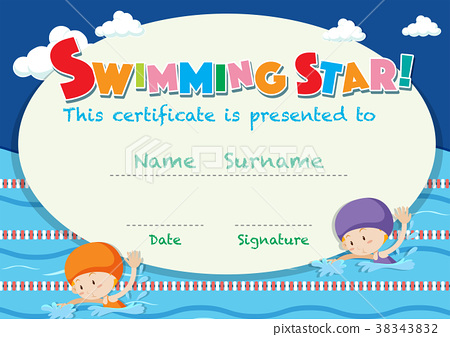 Certificate template with kids swimming 38343832