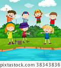 Happy children fishing in the park 38343836