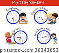 Daily routine of many children with clocks 38343853