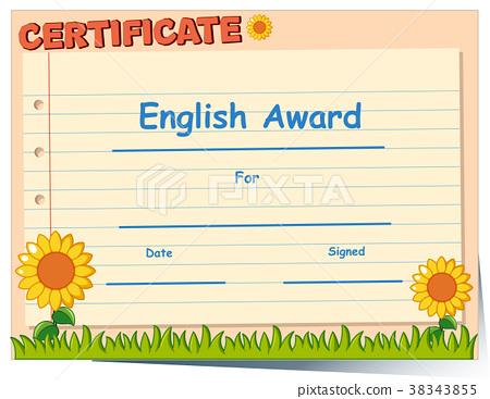 Certificate template for English award 38343855
