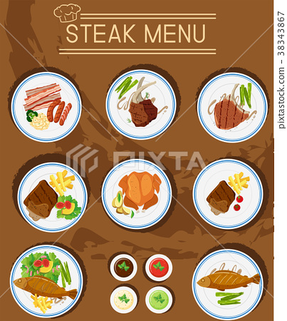Steak menu with different types of meats 38343867