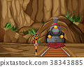 Background scene with train on the track 38343885