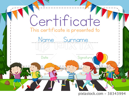 Certificate template with children 38343994