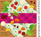 Background template with vegetables on table 38344002
