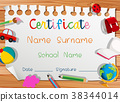 Certificate template with many toys 38344014