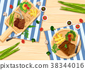 Background template with steaks and vegetables 38344016