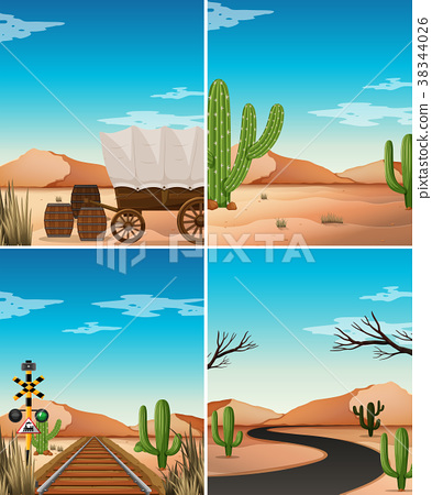 Four desert scenes with cactus in the field 38344026