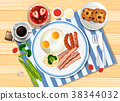Breakfast set with eggs and bacon 38344032