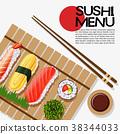 Sushi menu design on poster 38344033