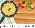 Background template with pasta in pan 38344038