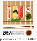 Sushi menu design with sushi on wooden tray 38344041