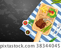 Background template with lambchop and fries 38344045