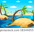 Background scene with islands in the ocean 38344055