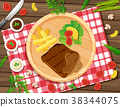 Steak with fries and salad on the plate 38344075