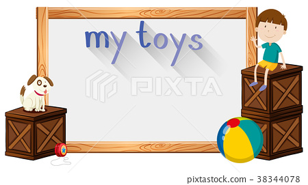 Border template with boy and toys 38344078