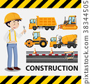 Construction worker and construction trucks 38344505