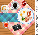 Background design with breakfast set 38344506
