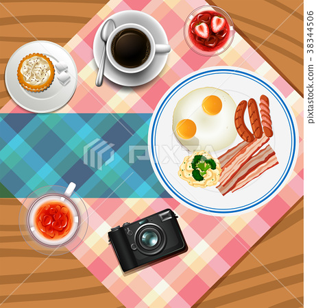 Background design with breakfast set 38344506