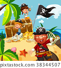 Pirate and kids with treasure chest on island 38344507