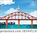 Baby and crane on the bridge 38344519