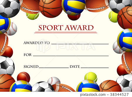 Certificate template for sport award 38344527