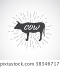 Vector of lettering within silhouette of cow. 38346717