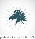 Vector of horse head on white background. Animal. 38346726