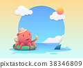 Cute red octopus cartoon character in summer 38346809