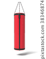 3d rendering of a red and black boxing bag hanging 38346874