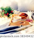 Breakfast Bed Tray Coffee Bun Grey Early Morning 38349432