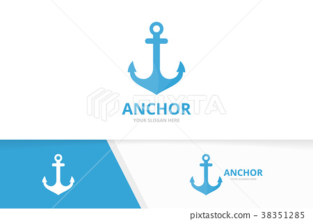Vector anchor logo combination. Marine and 38351285