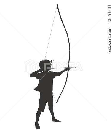 Silhouette pulling a bow 38351541