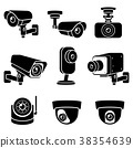 CCTV camera icons. Vector illustrations. 38354639