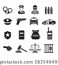 Police icons. Vector illustrations. 38354649