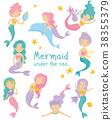 mermaid, girl, vector 38355379