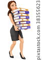 3D Business woman loading with many ring binders 38355623