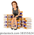 3D Business woman sitting on many ring binders 38355624