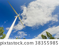 Wind power generating stations in the park 38355985