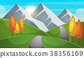 Cartoon landscape. Mountain, firr, cloud, sun 38356169